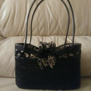 Gorgious TLC black wicker bag with printed cloth d